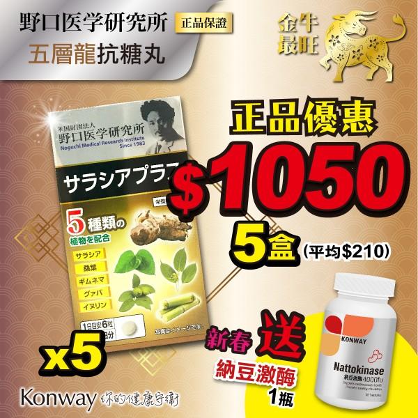 【新春限定】野口醫學-五層龍抗糖丸 - 五盒裝 + 送 Konway 納豆激酶 4000FU-一盒